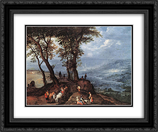Going to the Market 24x20 Black or Gold Ornate Framed and Double Matted Art Print by Jan the Elder Brueghel