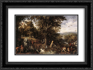 Garden of Eden 24x18 Black or Gold Ornate Framed and Double Matted Art Print by Jan the Elder Brueghel