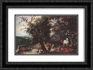 The Original Sin 24x18 Black or Gold Ornate Framed and Double Matted Art Print by Jan the Elder Brueghel