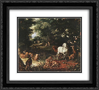 The Original Sin [detail: 1] 22x20 Black or Gold Ornate Framed and Double Matted Art Print by Jan the Elder Brueghel