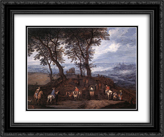 Travellers on the Way 24x20 Black or Gold Ornate Framed and Double Matted Art Print by Jan the Elder Brueghel