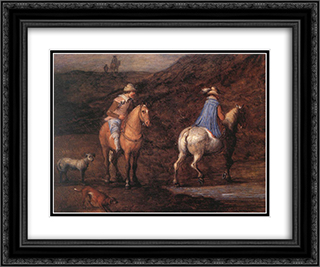 Travellers on the Way [detail: 1] 24x20 Black or Gold Ornate Framed and Double Matted Art Print by Jan the Elder Brueghel