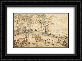 Villagers on their Way to Market 24x18 Black or Gold Ornate Framed and Double Matted Art Print by Jan the Elder Brueghel