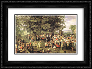 Wedding Banquet 24x18 Black or Gold Ornate Framed and Double Matted Art Print by Jan the Elder Brueghel