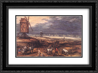 Landscape with Windmills 24x18 Black or Gold Ornate Framed and Double Matted Art Print by Jan the Elder Brueghel