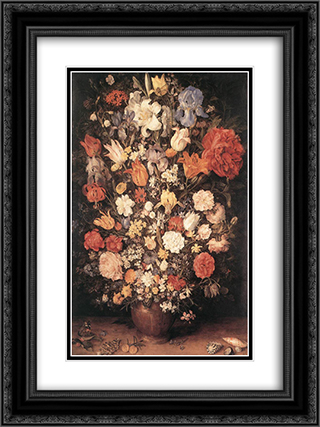 Bouquet 18x24 Black or Gold Ornate Framed and Double Matted Art Print by Jan the Elder Brueghel