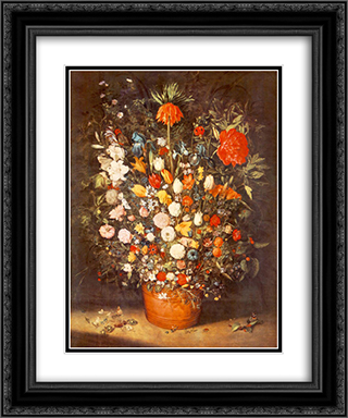 Bouquet 20x24 Black or Gold Ornate Framed and Double Matted Art Print by Jan the Elder Brueghel
