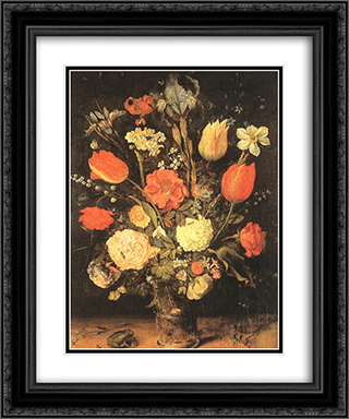 Flowers 20x24 Black or Gold Ornate Framed and Double Matted Art Print by Jan the Elder Brueghel
