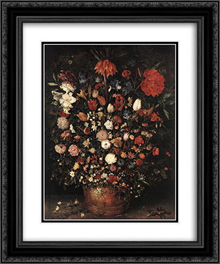The Great Bouquet 20x24 Black or Gold Ornate Framed and Double Matted Art Print by Jan the Elder Brueghel
