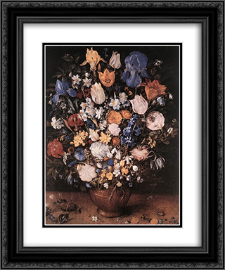 Bouquet in a Clay Vase 20x24 Black or Gold Ornate Framed and Double Matted Art Print by Jan the Elder Brueghel