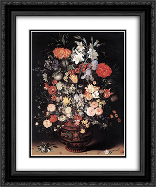 Flowers in a Vase 20x24 Black or Gold Ornate Framed and Double Matted Art Print by Jan the Elder Brueghel
