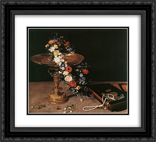 Still'Life with Garland of Flowers and Golden Tazza 22x20 Black or Gold Ornate Framed and Double Matted Art Print by Jan the Elder Brueghel
