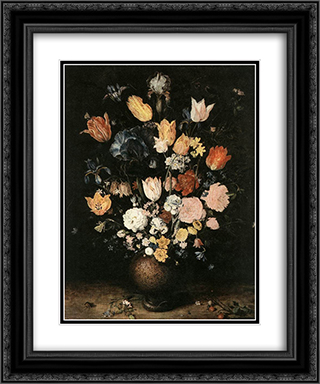 Bouquet of Flowers 20x24 Black or Gold Ornate Framed and Double Matted Art Print by Jan the Elder Brueghel