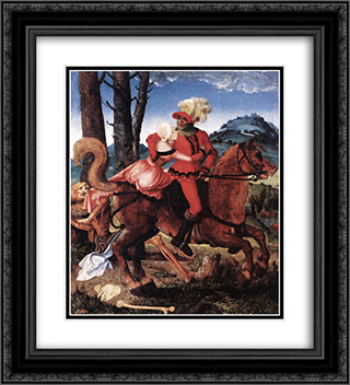 The Knight, the Young Girl, and Death 20x22 Black or Gold Ornate Framed and Double Matted Art Print by Hans Baldung