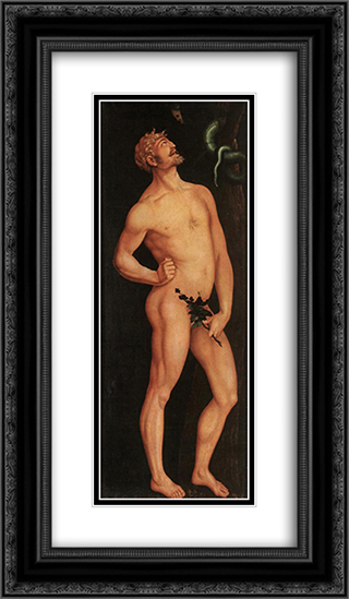 Adam 14x24 Black or Gold Ornate Framed and Double Matted Art Print by Hans Baldung