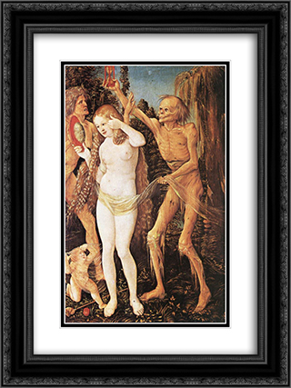 Three Ages of the Woman and the Death 18x24 Black or Gold Ornate Framed and Double Matted Art Print by Hans Baldung