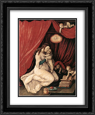 Virgin and Child in a Room 20x24 Black or Gold Ornate Framed and Double Matted Art Print by Hans Baldung
