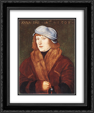 Portrait of a Young Man with a Rosary 20x24 Black or Gold Ornate Framed and Double Matted Art Print by Hans Baldung