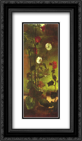 Hollyhocks 14x24 Black or Gold Ornate Framed and Double Matted Art Print by John LaFarge