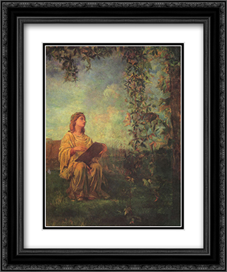 Decorative Panel, Seated Figure in Yellow 20x24 Black or Gold Ornate Framed and Double Matted Art Print by John LaFarge