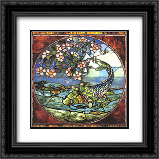 Fish and Flowering Branch 20x20 Black or Gold Ornate Framed and Double Matted Art Print by John LaFarge