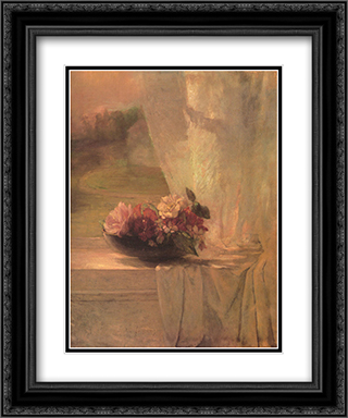 Flowers in a Persian Porcelain Water Bowl 20x24 Black or Gold Ornate Framed and Double Matted Art Print by John LaFarge