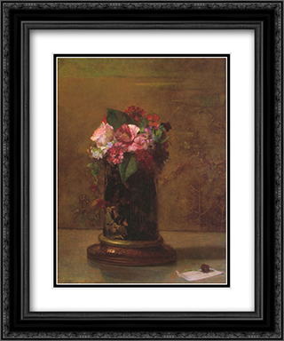 Flowers in a Japanese Vase 20x24 Black or Gold Ornate Framed and Double Matted Art Print by John LaFarge