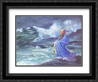 A Rishi calling up a Storm, Japanese folklore 24x20 Black or Gold Ornate Framed and Double Matted Art Print by John LaFarge