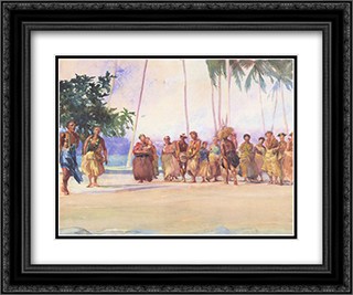 Fagaloa Bay, Samoa ' The Taupo, Faase, Marshalling the Woman Who Bring Presents of Food 24x20 Black or Gold Ornate Framed and Double Matted Art Print by John LaFarge