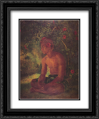 Maua, a Samoan 20x24 Black or Gold Ornate Framed and Double Matted Art Print by John LaFarge
