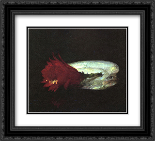 Shell and Flower 22x20 Black or Gold Ornate Framed and Double Matted Art Print by John LaFarge
