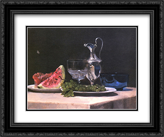 Still life study of silver, glass and fruit 24x20 Black or Gold Ornate Framed and Double Matted Art Print by John LaFarge