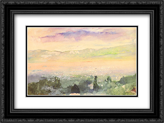 Sunrise in fog over Kyoto 24x18 Black or Gold Ornate Framed and Double Matted Art Print by John LaFarge