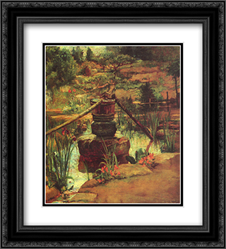 The Fountain in Our Garden at Nikko 20x22 Black or Gold Ornate Framed and Double Matted Art Print by John LaFarge