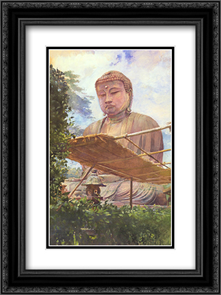 The Great Statue of Amida Buddha at Kamakura 18x24 Black or Gold Ornate Framed and Double Matted Art Print by John LaFarge
