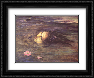 The strange thing little Kiosai saw in the River 24x20 Black or Gold Ornate Framed and Double Matted Art Print by John LaFarge