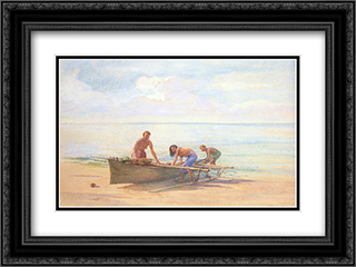 Women drawing up a Canoe 24x18 Black or Gold Ornate Framed and Double Matted Art Print by John LaFarge