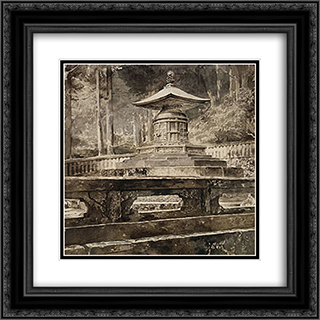 The Tomb of Iyeyasu Tokugawa 20x20 Black or Gold Ornate Framed and Double Matted Art Print by John LaFarge