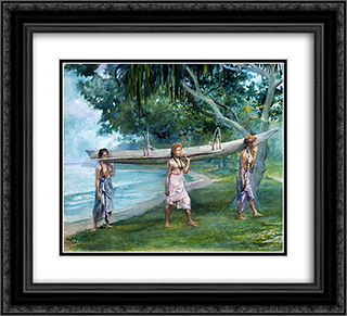 Girls Carrying a Canoe, Vaiala in Samoa 22x20 Black or Gold Ornate Framed and Double Matted Art Print by John LaFarge