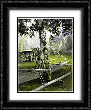 Portrait of Faase, the Taupo, or Official Virgin, of Fagaloa Bay, and Her Duenna, Samoa 20x24 Black or Gold Ornate Framed and Double Matted Art Print by John LaFarge