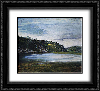 Paradise Rocks''Study at Paradise, Newport, Rhode Island 22x20 Black or Gold Ornate Framed and Double Matted Art Print by John LaFarge