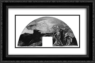 The Moral and Divine Law: Moses Receives the Law on Mount Sinai; Color Study for Mural, Supreme Court Room, Minnesota State Capitol, Saint Paul 24x16 Black or Gold Ornate Framed and Double Matted Art Print by John LaFarge