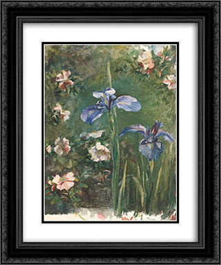 Wild Roses and Irises 20x24 Black or Gold Ornate Framed and Double Matted Art Print by John LaFarge