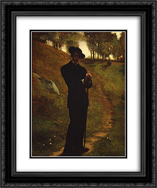 Portrait of the Painter 20x24 Black or Gold Ornate Framed and Double Matted Art Print by John LaFarge