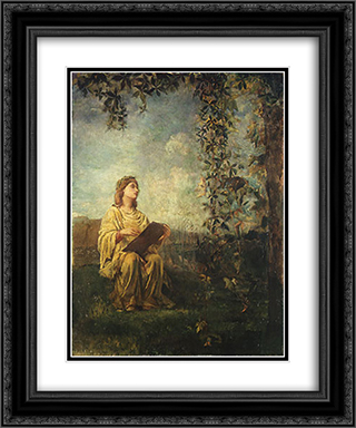 The Muse of Painting 20x24 Black or Gold Ornate Framed and Double Matted Art Print by John LaFarge