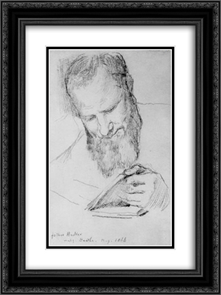Father Hecker Reading Goethe 18x24 Black or Gold Ornate Framed and Double Matted Art Print by John LaFarge