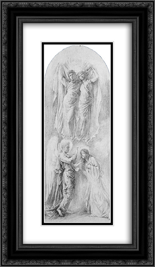 Angel Sealing the Servants of God (Study for the Anna,Margaret Sherman and Gertrude Van Dalfsen Memorial Window, Trinity Church, Buffalo, N.Y.) 14x24 Black or Gold Ornate Framed and Double Matted Art Print by John LaFarge