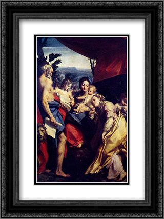 Madonna Of St. Jerome 18x24 Black or Gold Ornate Framed and Double Matted Art Print by Correggio