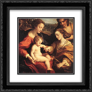 The Mystic Marriage of St. Catherine 20x20 Black or Gold Ornate Framed and Double Matted Art Print by Correggio