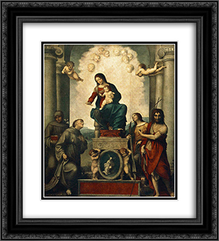 Madonna with St. Francis 20x22 Black or Gold Ornate Framed and Double Matted Art Print by Correggio